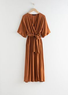 Side Slit Midi Wrap Dress - Rust - Midi dresses - & Other Stories Outfit Zusammenstellen, Dress Outfits, Midi Dresses, Wrap Dresses, Wrap Dress Midi, Sleeve Dresses, Beach Dresses, Party Dresses, Casual Outfits