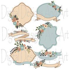 Rustic Flowers Clipart Wedding Flower Digital Clip Art Label Ribbons Invitation Tags Brown Blue