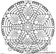 Photo - Her Crochet Motif Mandala Crochet, Crochet Mandala Pattern, Crochet Doily Patterns, Crochet Diagram, Crochet Chart, Crochet Squares, Thread Crochet, Knit Crochet, Crochet Stitches