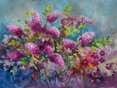 Love of Lilacs by Medy Bozkurtian Watercolor ~ 24 x 30 framed