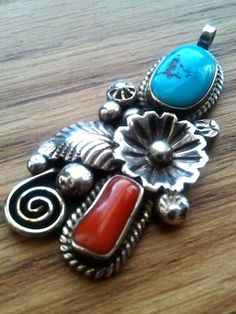 925 Sterling Silver Red Coral and Turquoise Pendant Signed Mike Chee, 9.47 grams #MikeChee