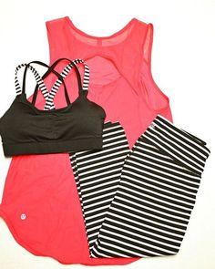 Workout Style: Lululemon Sculpt Tank in Boom Juice, Athleta black and white striped Chaturanga capris, and Target sports bra: shop @ FitnessApparelExp...