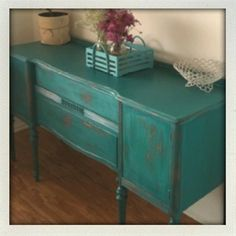 Painted furniture. Turquoise. Antique. Buffet. - Click image to find more Home Decor Pinterest pins