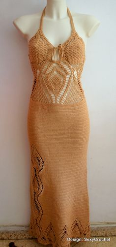Crochet beige dress for the beach / made to by SexyCrochetByOlga, €280.00