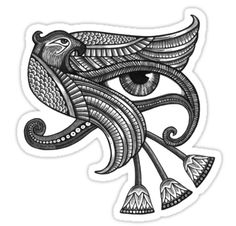 Eye of Horus : The EYE OF HORUS has a very specific meaning. The eye is represented as a figure with 6 parts. These 6 parts correspond to the six senses - Touch, Taste, Hearing, Thought, Sight, Smell. These are the 6 parts of the *eye*. The eye is the receptor of *input*. It has these six doors, to receive data.