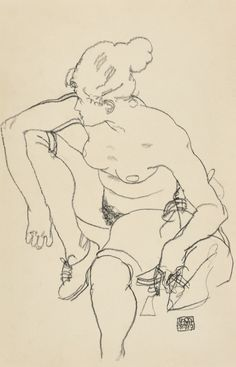 Egon Schiele (Austrian, 1890-1918), Frau sitzend mit Schuhen [Seated Woman with Shoes], 1917. Black crayon on paper, 46 x 29.7 cm.
