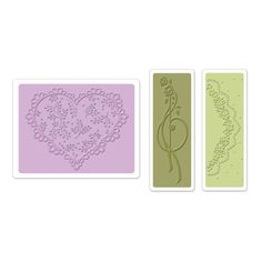 Sizzix Textured Impressions Embossing Folders 3PK - Scallop Heart Doily Set