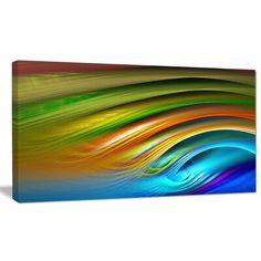 DesignArt Designart 'Colorful Fractal Water Ripples' Abstract Wall Art on Canvas Size: 30 H x 40 W x 1 D DesignArt Designart 'Colorful Fractal Water Ripples' Abstract Wall Art on Canvas Size: 30 Canvas Fabric, Canvas Art, Canvas Prints, Canvas Size, Cotton Canvas, Nautical Wallpaper, Water Printing, Water Ripples, Thing 1