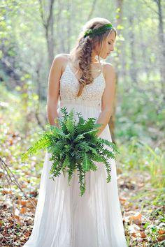 fern bouquet, photo by Arina B Photography http://ruffledblog.com/greenery-filled-wedding-ideas #flowers #bouquets
