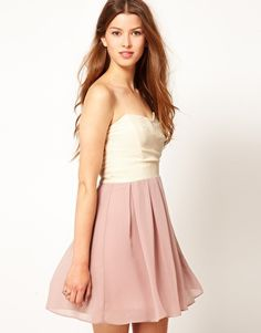 with gold sequin bolero!!! or ballet cropped wrap sweater!!! TFNC Dress Pleated Chiffon Bandeau Skater Dress