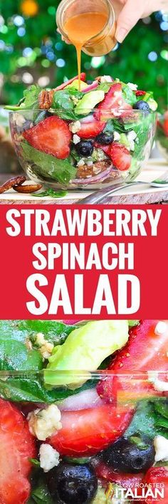 Best Ever Strawberry Spinach Salad will rock your world! This simple recipe is a celebration of summers bounty in the most spectacular salad you will ever eat. Fresh crisp spinach salad is taken to another level with bursts of sweetness from fresh summer Easy Salads, Healthy Salads, Easy Meals, Healthy Eating, Best Vegan Salads, Best Salads Ever, Healthy Food, Clean Eating, Summer Recipes