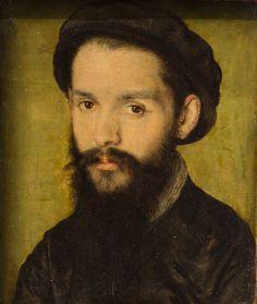 Corneille de Lyon (NL 1500-1575 Fr) Portrait présumé de Clément Marot  Oil on wood (1536)