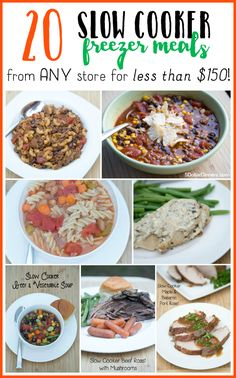 Come see how you can get 20 slow cooker freezer meals for $150 (or less)! Meal plan, grocery list, recipes and instructions inluded! :: TodaysFrugalMom.com