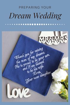 """Wedding gift for Father in Law - custom embroidered handkerchief in many colors with your own custom message ♥ SIZE: 12'"""" x 12"""" (30 x 30 cm) ♥ MATERIALS: 100% Cotton – Batista ♥ COLOR: 8 colors for handkerchief (choose in the options), white embroidery ♥ TEXT is embroidered NOT printed Wedding Gifts For Parents, Wedding Gifts For Groom, Bride And Groom Gifts, Wedding Props, Best Wedding Gifts, Father Of The Bride, Handmade Bridal Jewellery, Handmade Wedding, Personalized Wedding"""