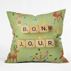Bonjour Throw Pillow | Art Products | DENY Designs Home Accessories