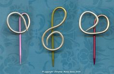 twisted knitting needle SHAWL  scarf pin for by ChristinesCabinet