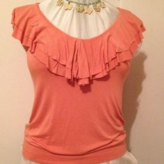 Forever 21 Coral Top Ruffle sleeves, band around bottom. Forever 21 Tops