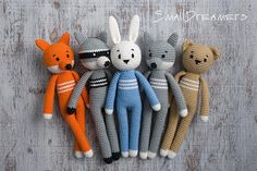 Crochet Fox Toy Woodland animal Soft cotton toy for kids Plush