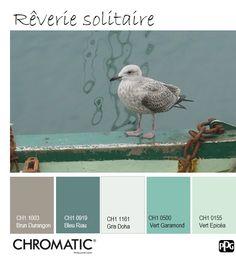 Cette palette de bleu et verts d'eau est apaisante et source d'une certaine rêverie. www.chromaticstore.com