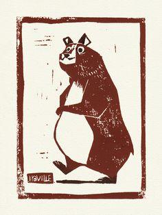 Bear Linocut by Iraville