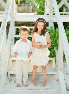 Beachy flower girl and ring bearer: http://www.stylemepretty.com/2015/01/06/coral-bahamas-destination-wedding/ | Photography: KT Merry - http://www.ktmerry.com/