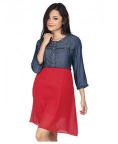 dress wanita elegan berwarna biru merah | tokofobia.com toko fashion ...
