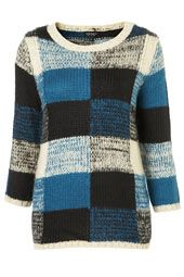 Knitted Tweedy Check Jumper by TopShop