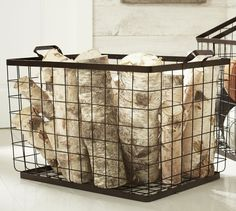 Kellan Rectangular Tote from Pottery Barn to put inside the fireplace Firewood Storage, Wire Storage, Firewood Basket, Entryway Organization, Entryway Decor, Pottery Barn Furniture, Laundry Decor, Laundry Room, Beach Accessories
