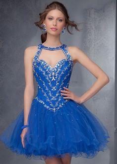 2014 Sweethear Beaded Open Back Short Royal Cocktail Dress