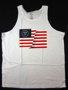 Diamond Supply Co Split Flag USA tank top skate shirt men's white size XL…