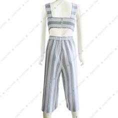 058b8b81721 Women s cotton linen striped wide leg jumpsuit on tiaremarket.com