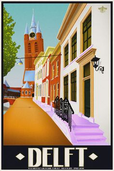Travelposter of the city of Delft, the Netherlands - De Oude Jan -