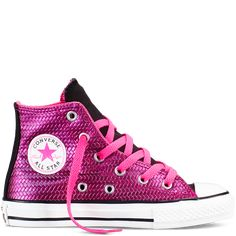 Size 10.5 and above. Converse appear to run 0.5 to a full size big. Chuck Taylor All Star Shine Yth/Jr
