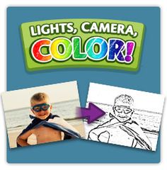 Lights, Camera, Color!  upload pictures and have them turn into coloring pages. How fun and easy. Great idea!