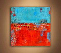 SALE...Painting on Wood Large painting. Abstract by erinashleyart