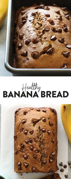 This Healthy Banana Bread with coconut oil is about to change your life. It'… This Healthy Banana Bread with coconut oil is about to change your life. It's made with white whole wheat flour, roasted bananas, coconut oil, and dark chocolate chips. Banana Bread Coconut Oil, Whole Wheat Banana Bread, Flours Banana Bread, Healthy Banana Bread, Banana Bread Recipes, Whole Wheat Flour, Healthy Dessert Recipes, Healthy Baking, Baking Recipes