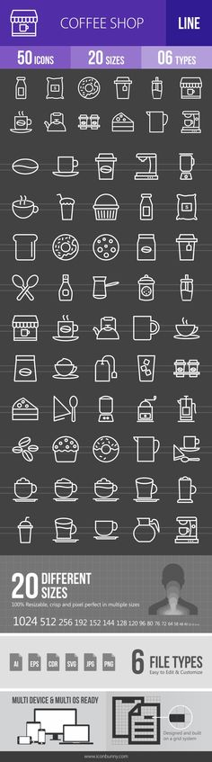 50 Coffee Shop Line Inverted Icons