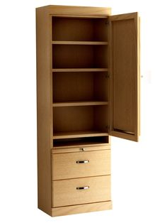 Shaker Style Bookcase with Drop Down Table in Oak - Honey Finish.  Shown with Upper Door Open