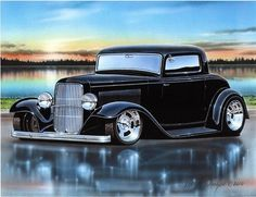 1932 Ford 3 Window Coupe Streetrod Car Art Print 11x14 32