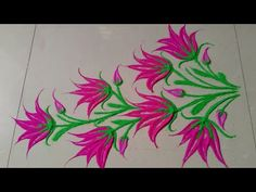 Easy and quick LOTES flower rangoli design Simple Rangoli Designs Images, Rangoli Designs Flower, Rangoli Border Designs, Rangoli Patterns, Colorful Rangoli Designs, Rangoli Ideas, Rangoli Designs Diwali, Diwali Rangoli, Flower Rangoli