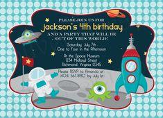 Outer Space - Custom Digital Birthday Party Invitation -Astronaut, Spaceship, Alien, UFO, Stars, Boy, Blue, Red, Green, Printable, 5 Designs. $15.00, via Etsy.