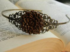 Rustic Wedding Hair Piece Bridal Prom brown by CreativeKates, $18.00