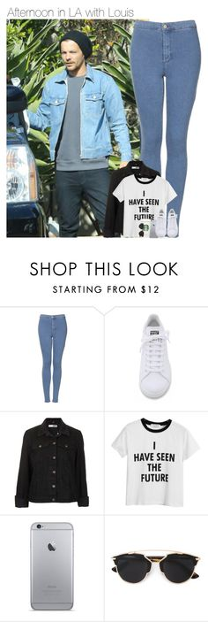 """""""Afternoon in LA with Louis"""" by mmbrambilla ❤ liked on Polyvore featuring Topshop, adidas, Chicnova Fashion and Christian Dior"""