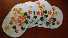 Vintage Vera Neumann Vinyl Placemats, FREE SHIPPING, Nostalgic Finds, Vera Placemats, Table Decor, Vintage Dining, Set of 4, Botanical by Nostalgicfinds2 on Etsy