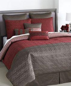 Bryan Keith Gramercy 9 Piece Burgundy Brown Queen Bed in a Bag Bedroom Comforter Sets, Bedroom Sets, Home Bedroom, Master Bedroom, Bedding, Retail Sector, Bed In A Bag, Queen Beds, Comforters