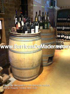 Nuevas fotos @Vinopolis. Bonita tienda de vinos londinense decorada con barricas y con mucho gusto. Consigue decoraciones tan bonitas como las suyas comprando tus barricas en www.BarricasDeMadera.com  #barricas #decoracion #barriles #reciclaje #escaparates #toneles #vino #wine #barrels #casks