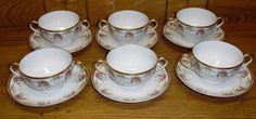 6 T V Tressemanes Vogt Limoges France Porcelain 2 Handle Cream CUP Saucer Sets | eBay