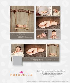 Photoshop Templates for Photographers — Baby Boy Birth Announcement  5x7 Card and Coordinating Facebook Timeline Cover - by FOTOVELLA