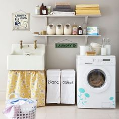 haha...cute. Love the flowers on the washing machine. Hoping to get a nice big sink for my laundry room sometime. :)
