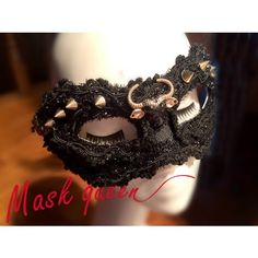 Black Beaded Lace Studded Steam Punk Rock Masquerade Ball Face Mask SKU-321273